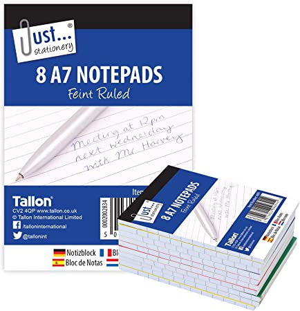 Just Stationery A7 bloc de notas (Pack de 8): Amazon.es: Oficina y ...