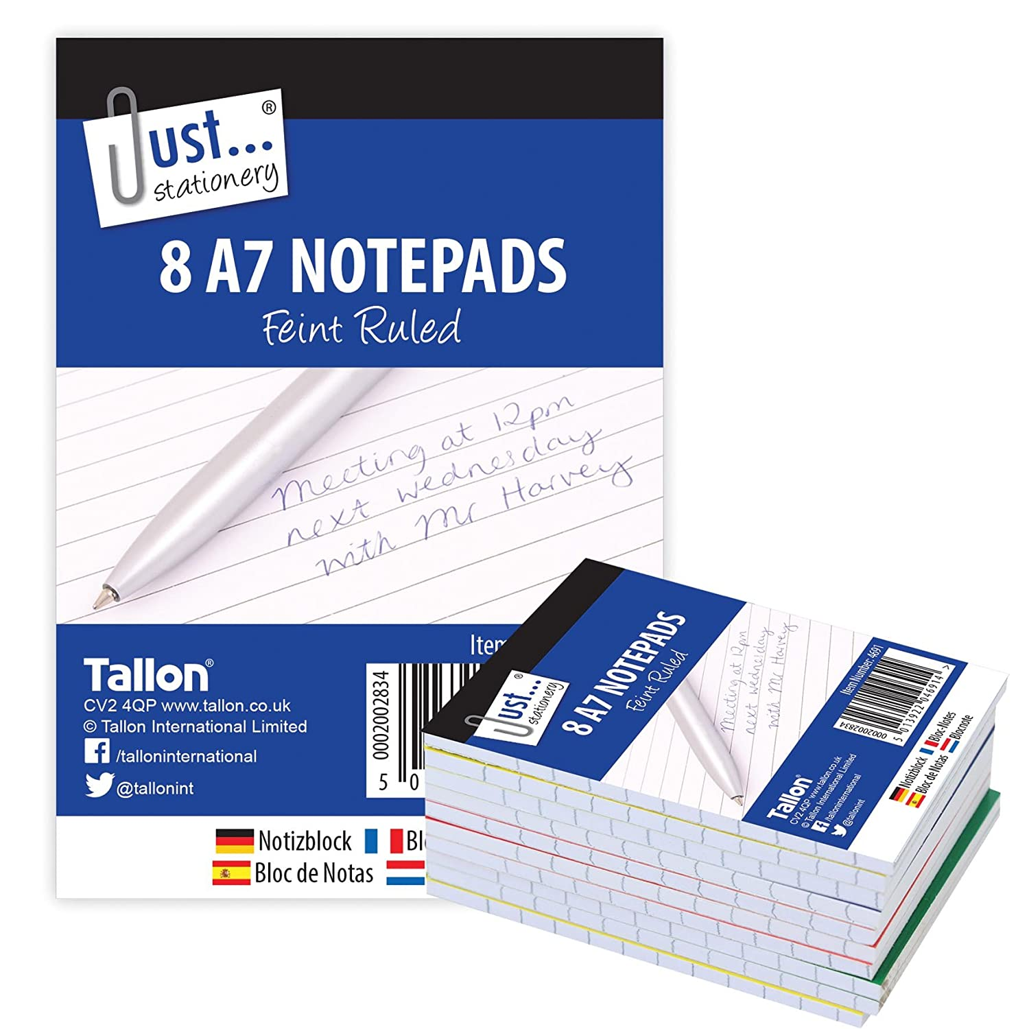 Just Stationery A7 Notepad (Pack of 8) Tallon International Ltd 4691