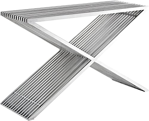 Modway Press Contemporary Modern Stainless Steel Console Table In Silver