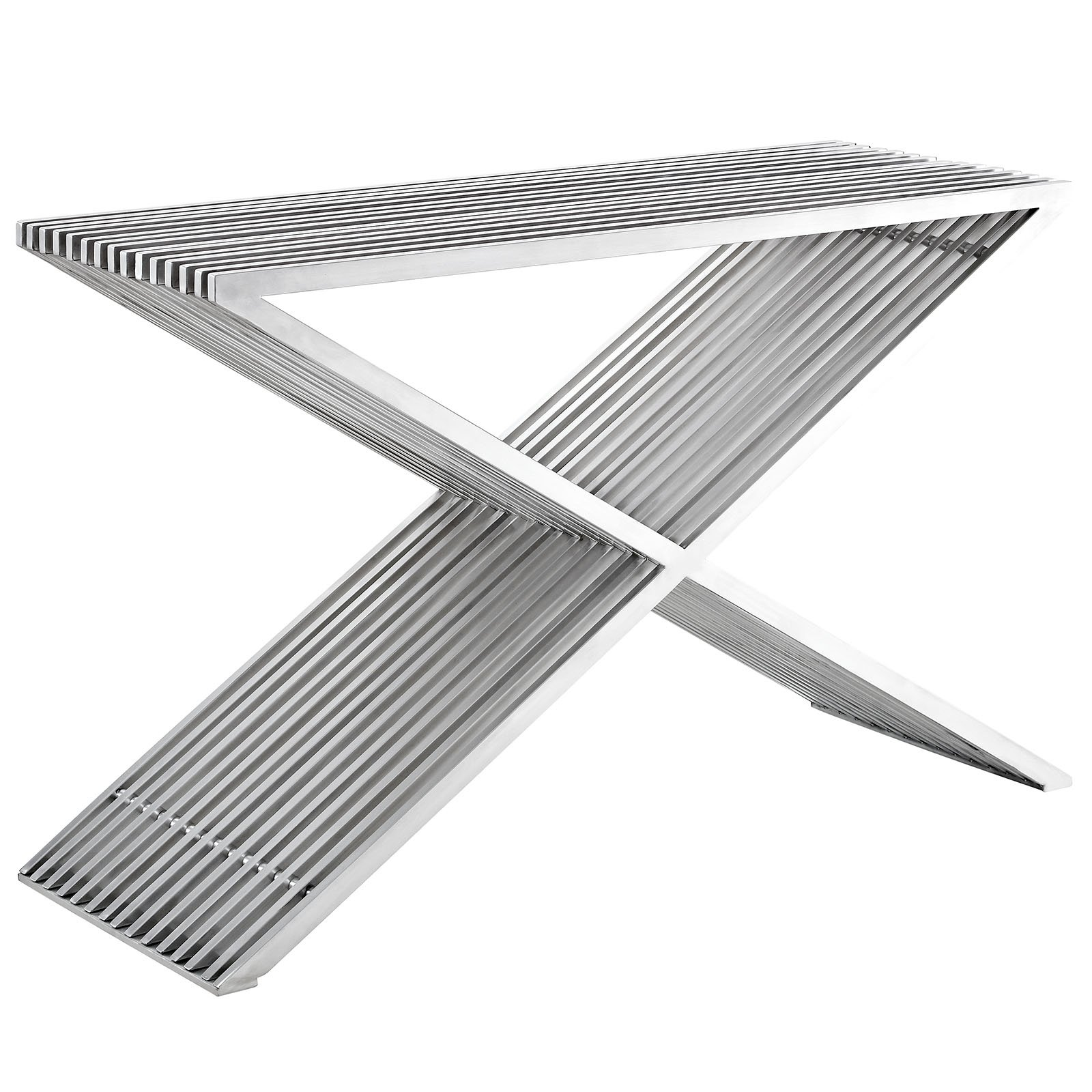 Modway Press Contemporary Modern Stainless Steel Console Table In Silver by Modway
