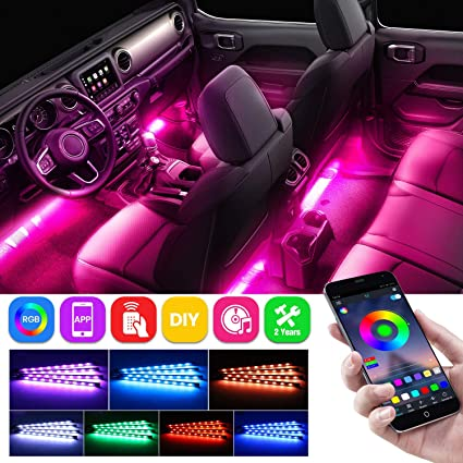 USB Port LED Strip DC 12V with Sound Active Function and Wireless Remote Control Henlight Car LED Strip Lights 4pcs 48 LED Multicolor Music Car Interior Light LED Under Dash Lighting Kits