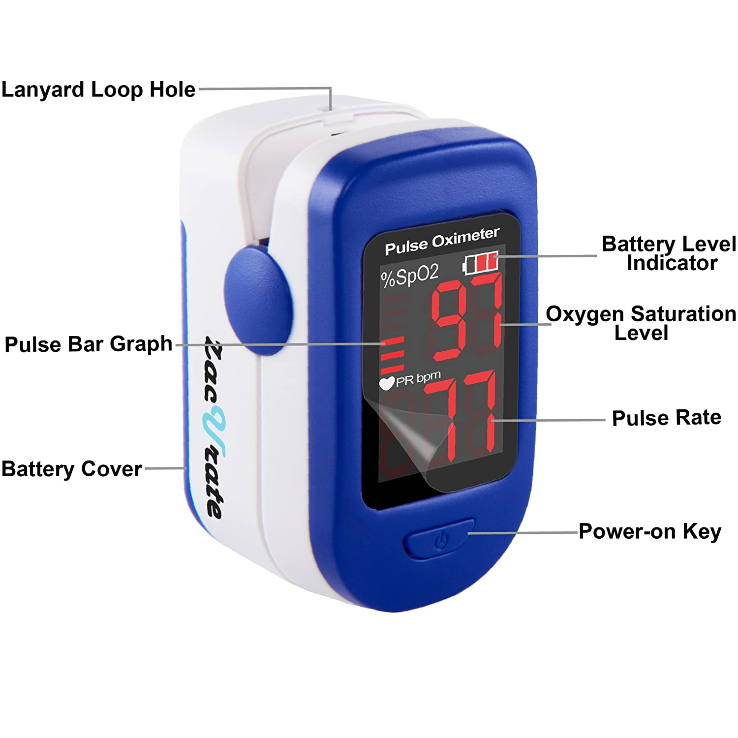 Zacurate 500BL Fingertip Pulse Oximeter Blood Oxygen Saturation Monitor  with Batteries and Lanyard