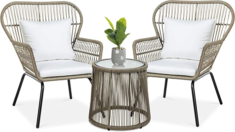 best choice products 3 piece patio conversation bistro set outdoor all weather wicker furniture for porch backyard w 2 wide ergonomic chairs