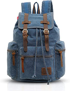 Fashion Canvas Leather Backpack Multi-Functional Retro Portable Computer Bag BK