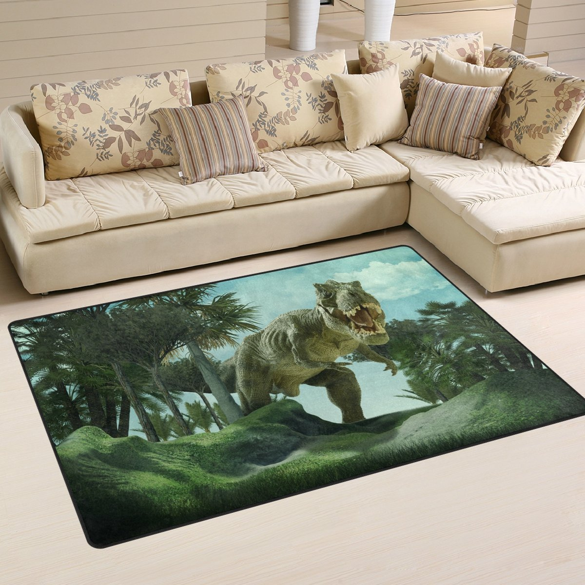 XiangHeFu Area Rugs for Living Dining Bedroom Doormats Decorative 3D Giant Dinosaur Destroy The Park 2'7 x 1'8 (31x20 Inches) Carpet Non-Slip Floor Mat Resting