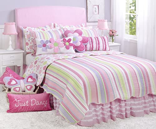 Merrill Girl Full Queen Cotton Quilt Set Pink, Lilac White Stripes and Multicolored Dots on The Reverse