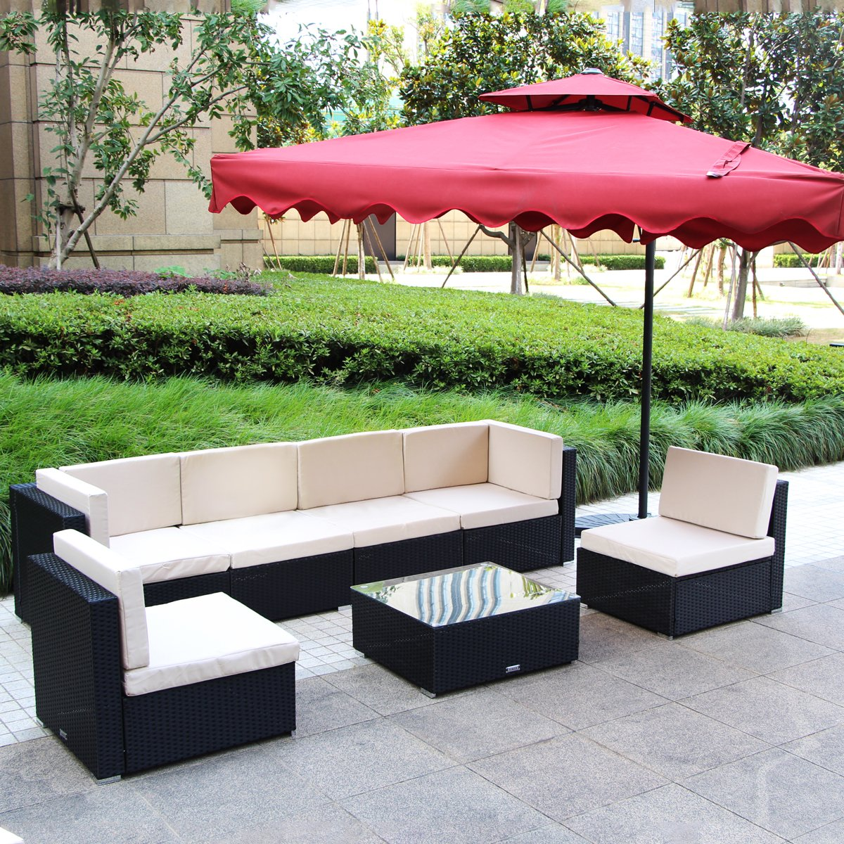 U-MAX 7 Piece 7-12 Pieces Patio PE Rattan Wicker Sofa Sectional Furniture Set (7 Pieces, Black) by U-MAX (Image #1)