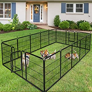 Giantex 40/48inch Dog Playpen with Door, 16/8 Panel Pet Playpen for Large Dogs Pets, Portable Freestanding Dog Exercise Pens Barrier Kennel, Metal Dog Playpen Indoor & Outdoor