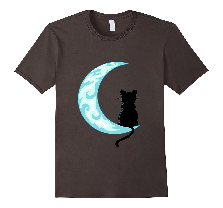 Black Cat Mom Shirt Crescent Moon T-Shirt-BN