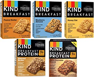 product image for Kind, Breakfast Bars, Variety 5 Box (8ct ea): Dark Chocolate Cocoa, Honey Oat, Peanut Butter, Almond Butter, Peanut Butter Banana Maple Cinnamon, Blueberry Almond