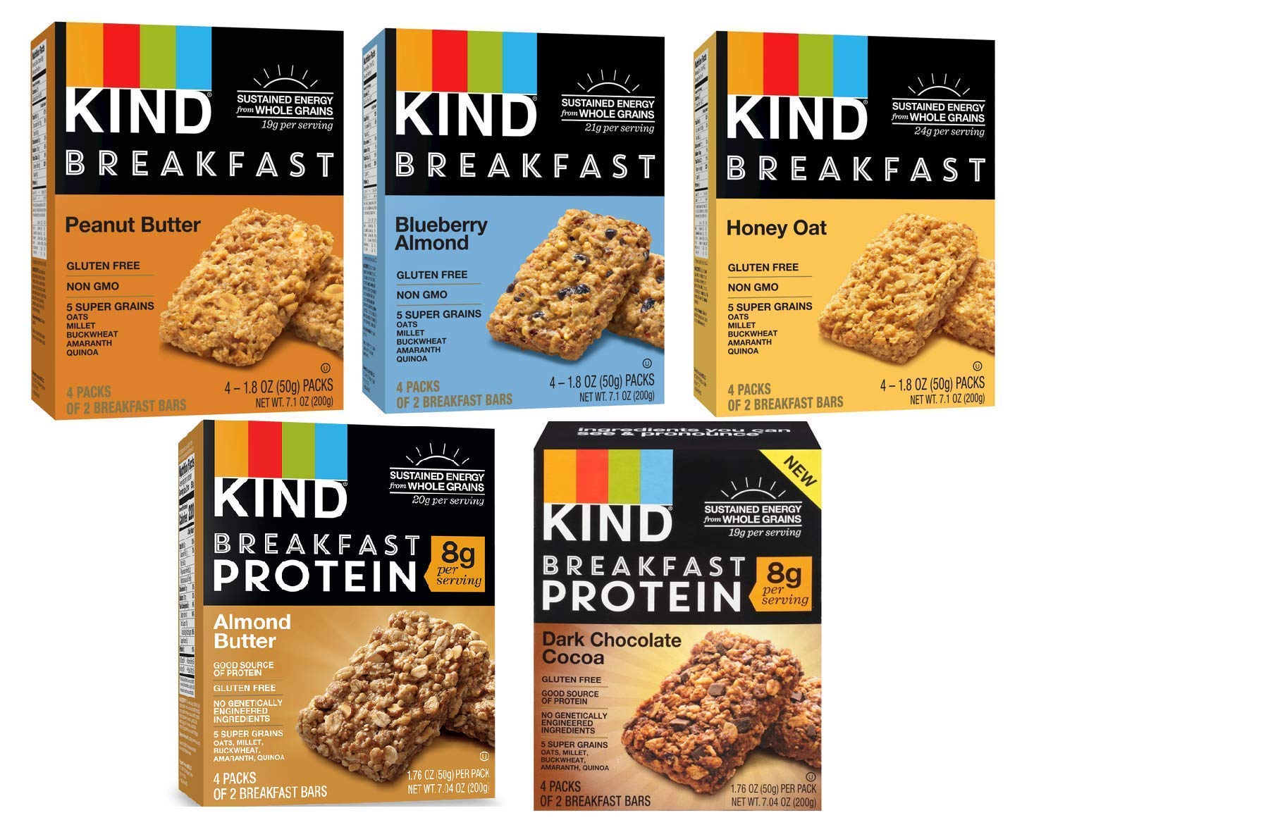 Kind, Breakfast Bars, Variety 5 Box (8ct ea): Dark Chocolate Cocoa, Honey Oat, Peanut Butter, Almond Butter, Peanut Butter Banana Maple Cinnamon, Blueberry Almond by KIND