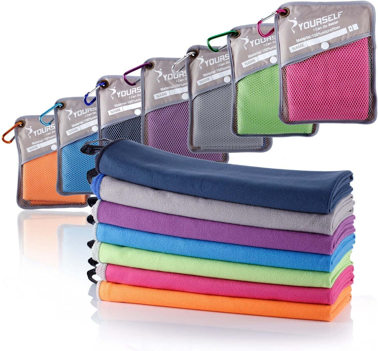 SYOURSELF Toalla de microfibra para viajes y deportes - XL, L, M, S - secado rápido, ligero, absorbente, suave - ideal para yoga, fitness, acampadas + ...