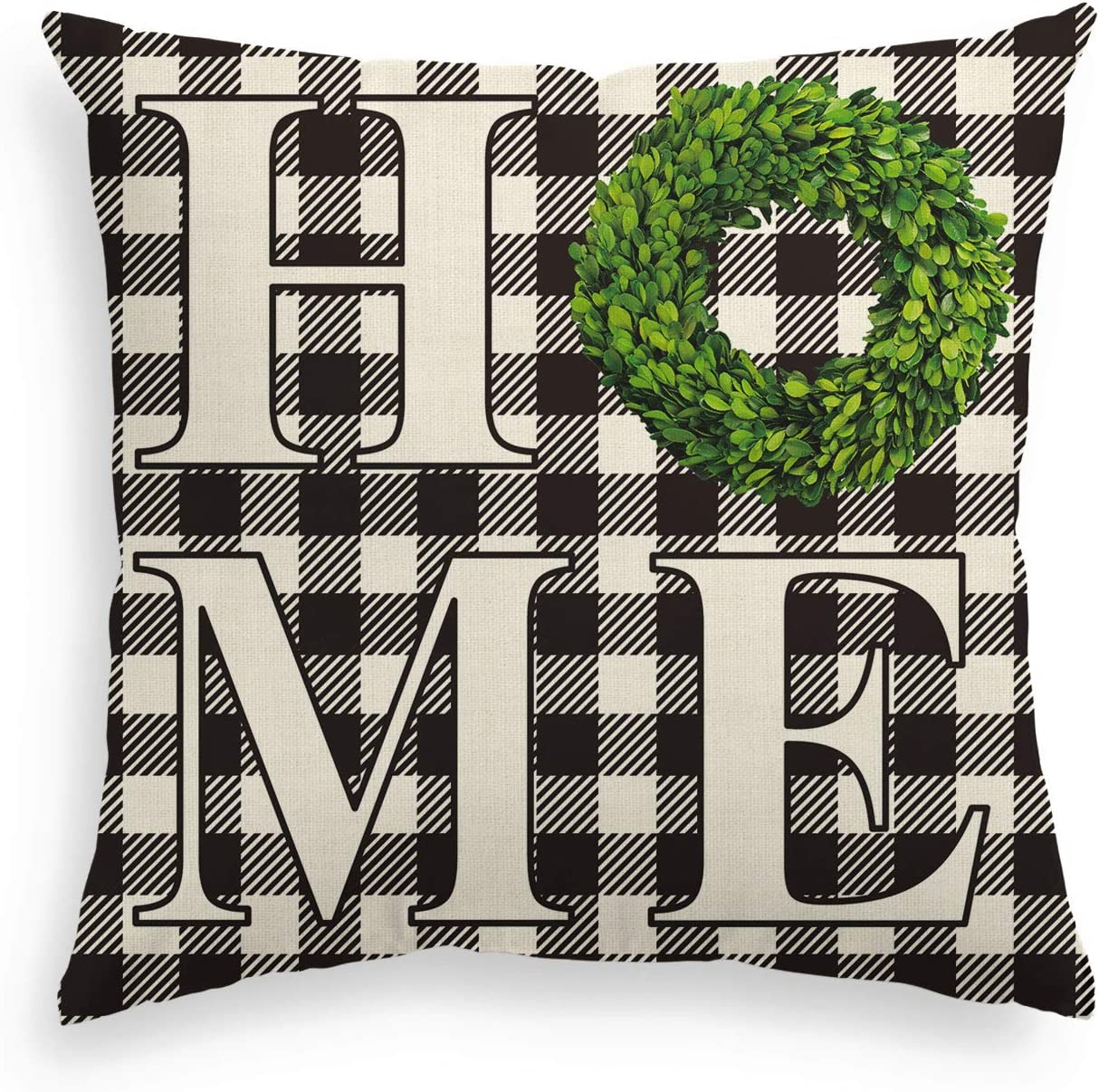 AVOIN Boxwood Wreath Home Throw Pillow Cover, Fall Thanksgiving Easter Buffalo Check Plaid 18 x 18 Inch Farmhouse Cushion Case Decoration for Sofa Couch