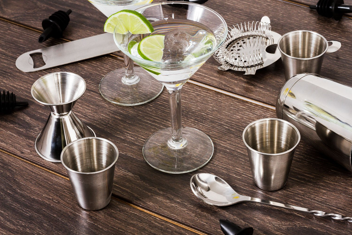 16 Pcs Cocktail Shaker Home Bar Set – Complete Bartender Kit with Double Bar Jigger, Pour Spouts, Drink Shaker, Hawthorne Strainer, Bar Spoon, Bottle Opener and Tin Shot Glasses by Lexi Home (Image #7)