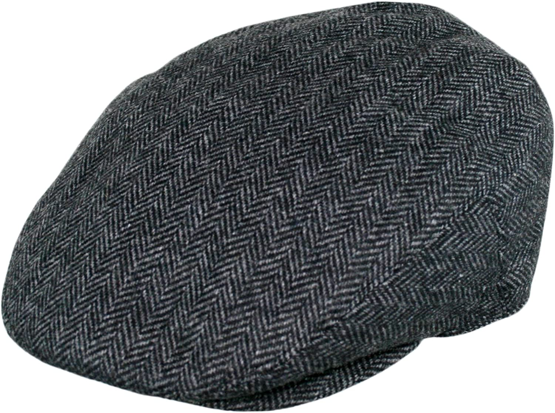 Men's Premium Wool Blend Classic Flat Ivy Newsboy Collection Hat , 1935-Charcoal, Medium