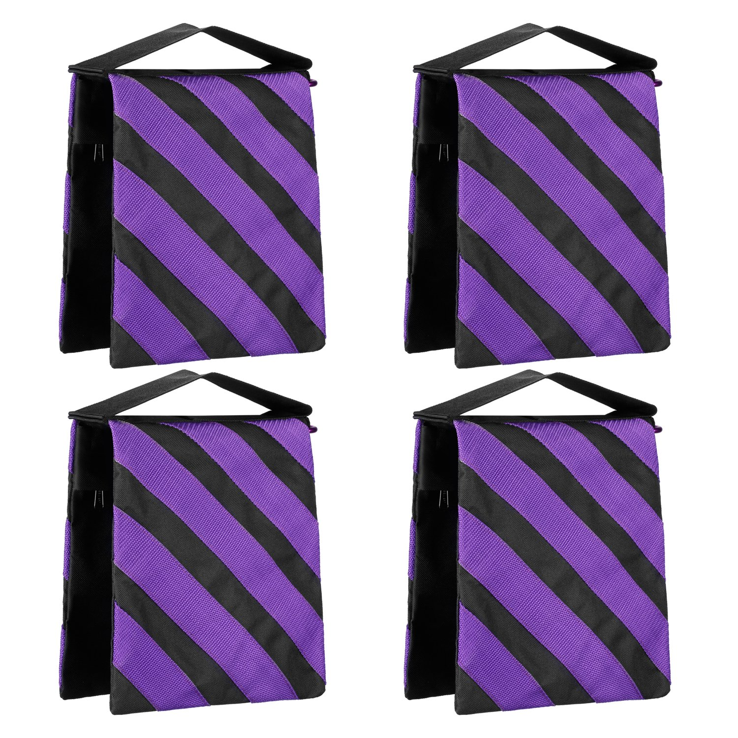 Neewer 4-Pack Empty Photographic Sandbag Studio Video Stage Film Sand Bag Saddlebag - 9x10 inches/23x25 centimeters, 20 pounds Load-bearing for Light Stands, Boom Arms, Tripods (Purple/Black) 90091816