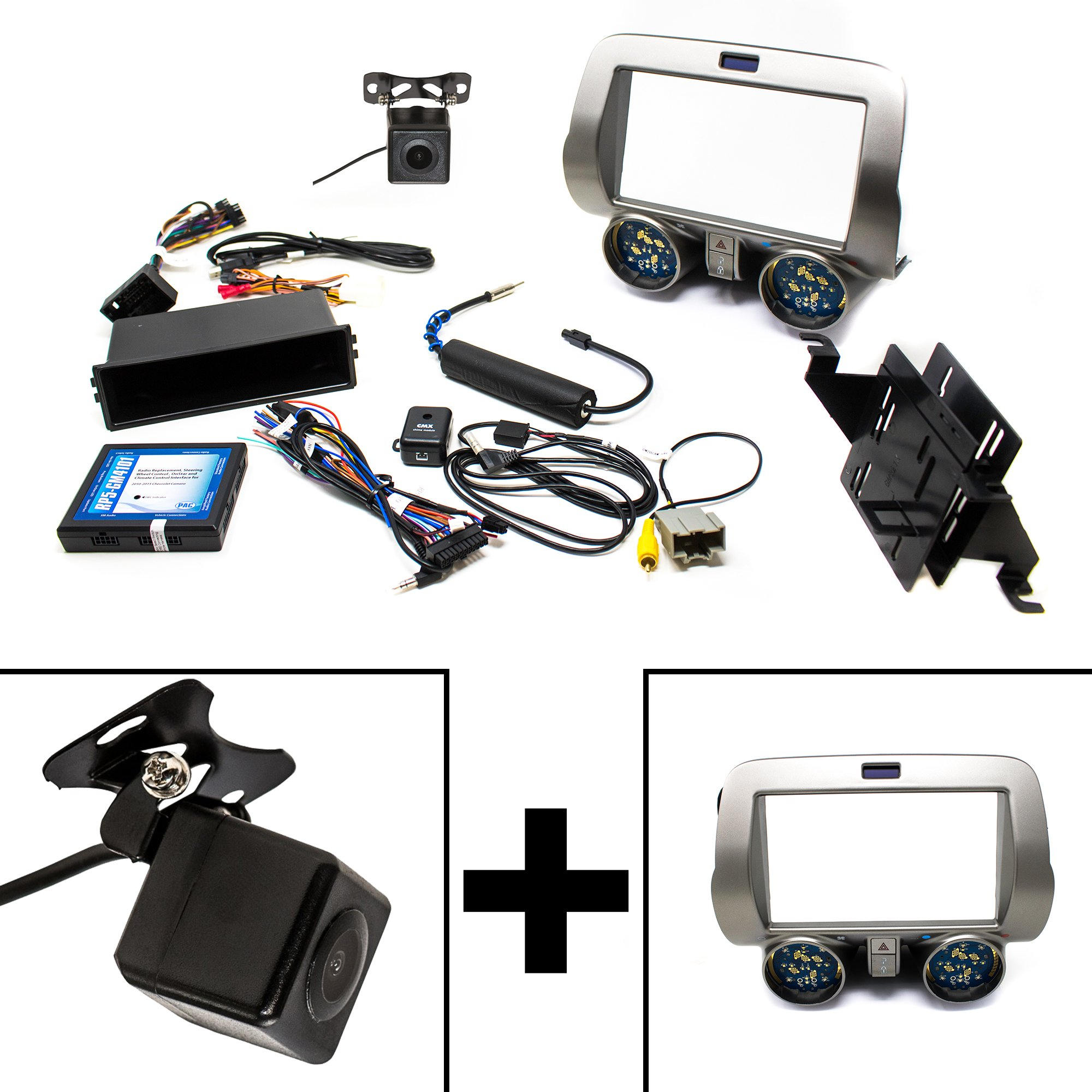 PAC RPK5-GM4101 Chevrolet Camaro Integrated Radio Replacement Kit 2010-15 (Grey With Back-Up Camera)