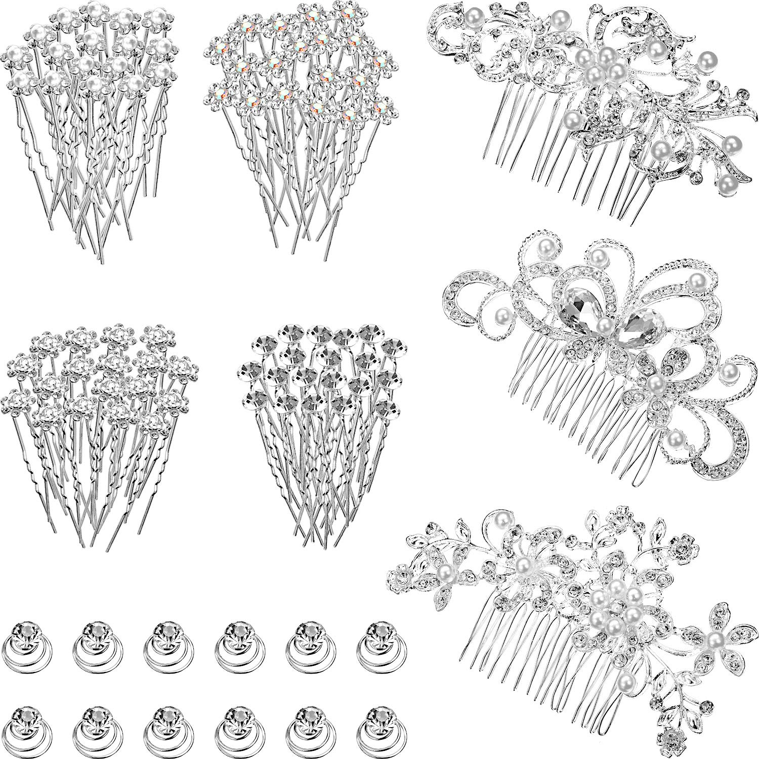 55 Pieces Wedding Bridal Hair Pins Crystal Pearl Hair Barrettes Flower Spiral Hair Clips Women Hair Side Comb for Brides Bridesmaids by WILLBOND