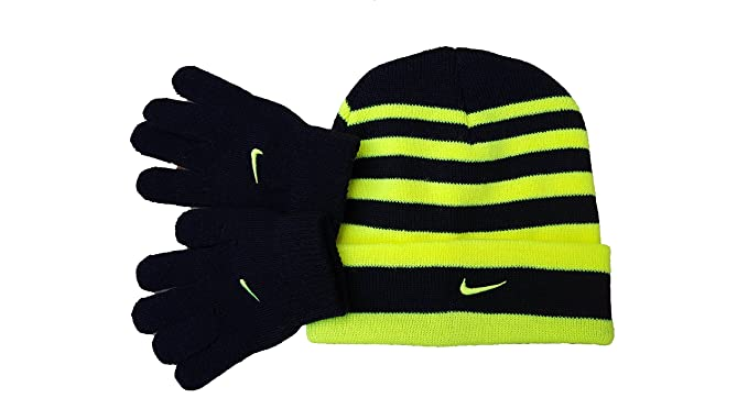 3b319743320 Nike Swoosh Cuff Style Striped Knit Beanie Skull Cap   Gloves Set Boys ...