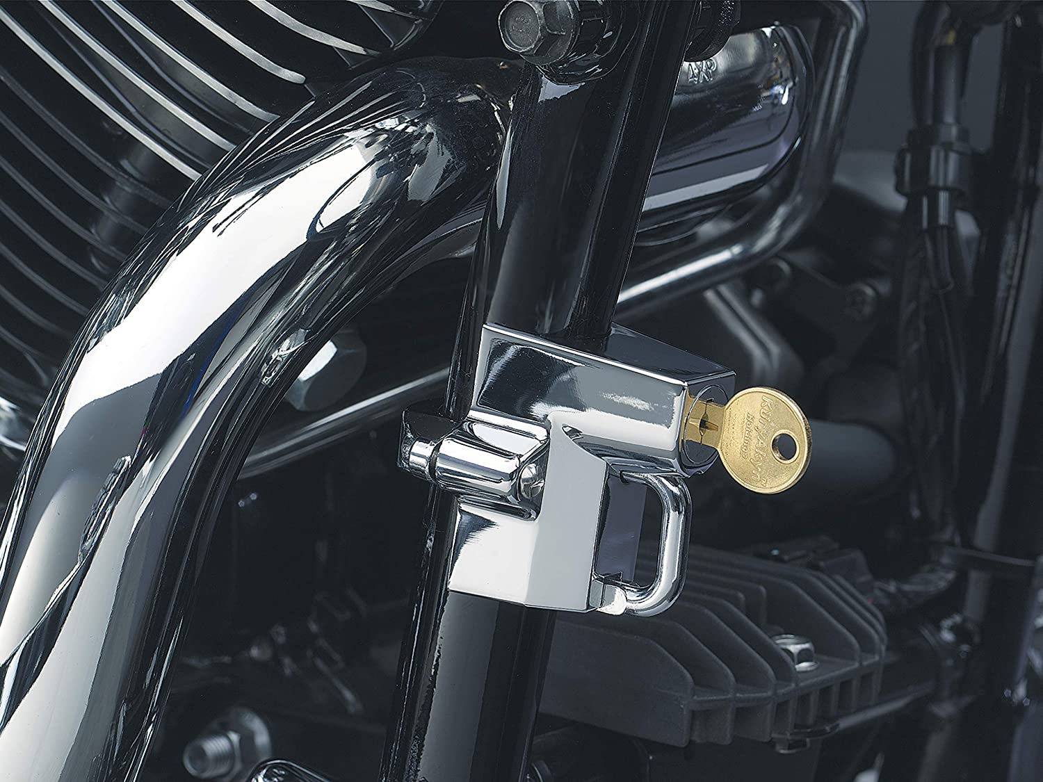 Universal Fit for Motorcycles with 7//8 to 1-1//4 Diameter Frame Tubes Kuryakyn 4220 Motorcycle Accessory Chrome Tamper-Proof Helmet Security Lock