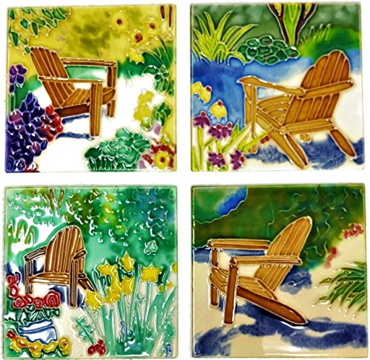 Amazon.com | Benaya Art Ceramics Set of 4 Drink Coasters ...