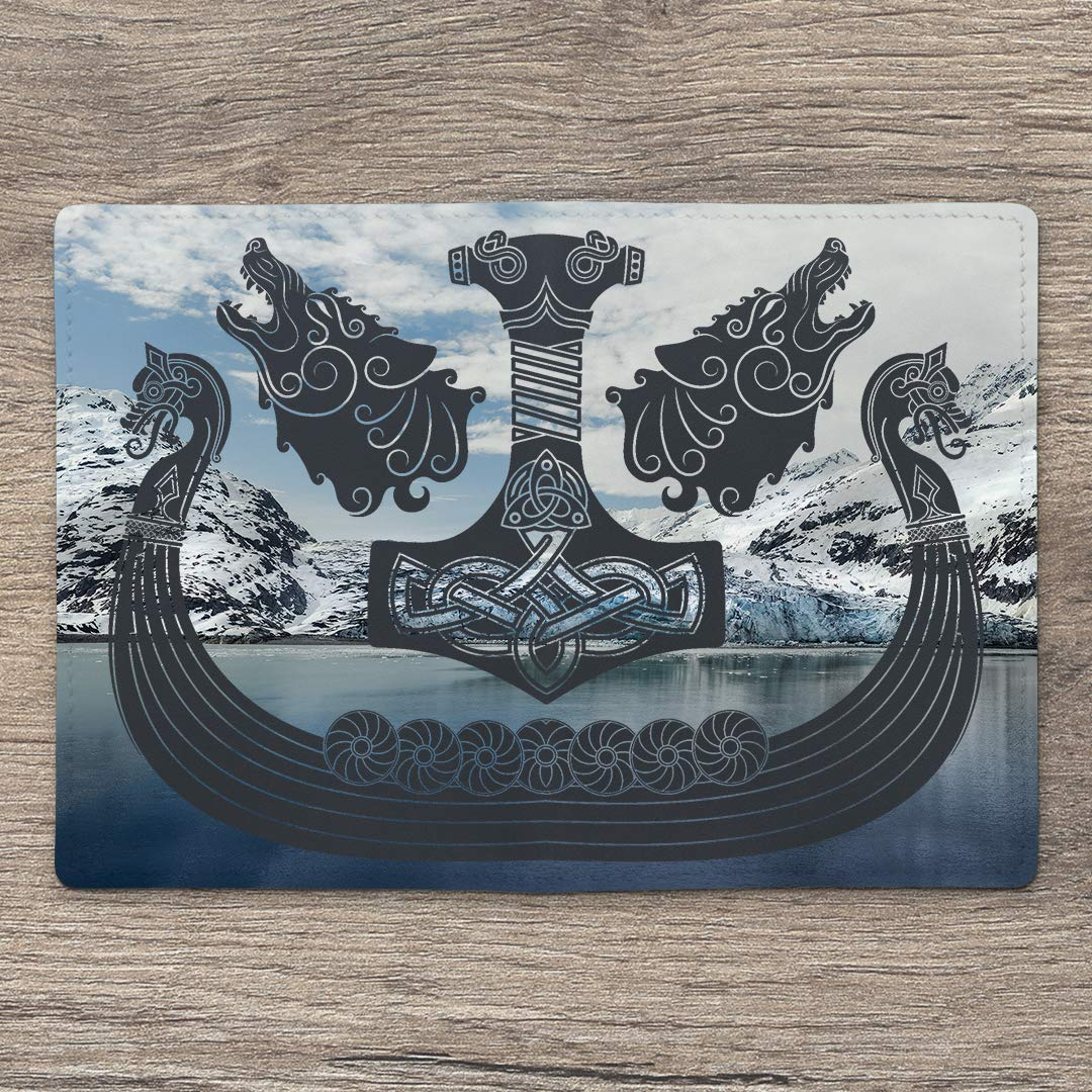 Leather Soft Wallet Case Cover Holder For Passport With Blue Viking Sea Pattern