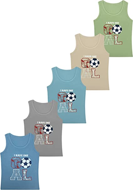 5 Camisetas de niño Camiseta sin Mangas de algodón - 2-15 años ...
