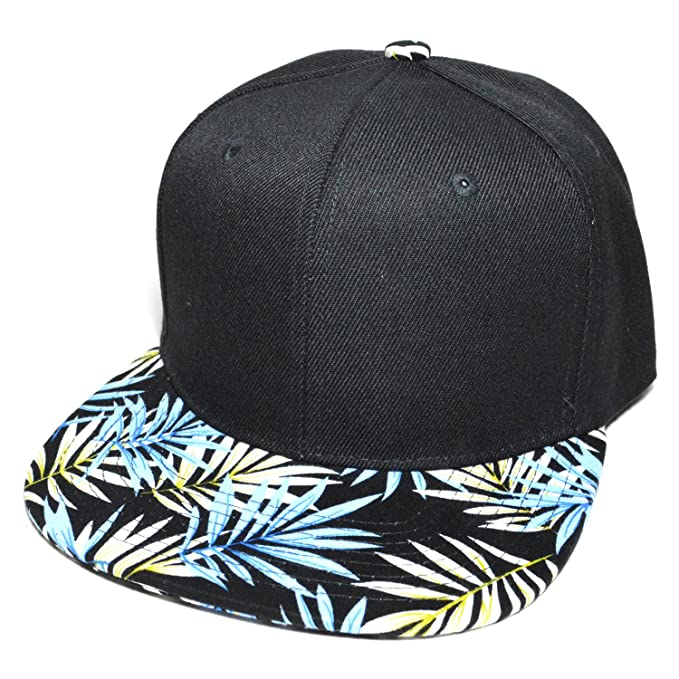 ee7c3320926 Flower Hawaiian Leaf Flat Visor Printed Fashion Cap Snapback Baseball Hat  (Blue) at Amazon Men s Clothing store