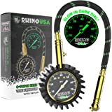 Rhino USA Heavy Duty Tire Pressure Gauge (0-75 PSI) - Certified ANSI B40.1 Accurate, Large 2 inch Easy Read Glow Dial…
