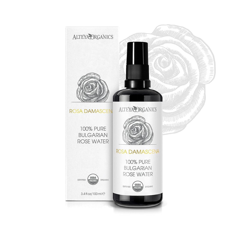 Alteya Organic Agua Floral de Rosa (Rosa Damascena) 100 ml – Spray (Vidrio) - 100% Puro Natural Bio Producto con Certificado USDA, Obtenido por Destilaciуn al Vapor de Frescas Flores Cosechadas a Mano, Vendido Directamente por el Cultivador y Destilador Al