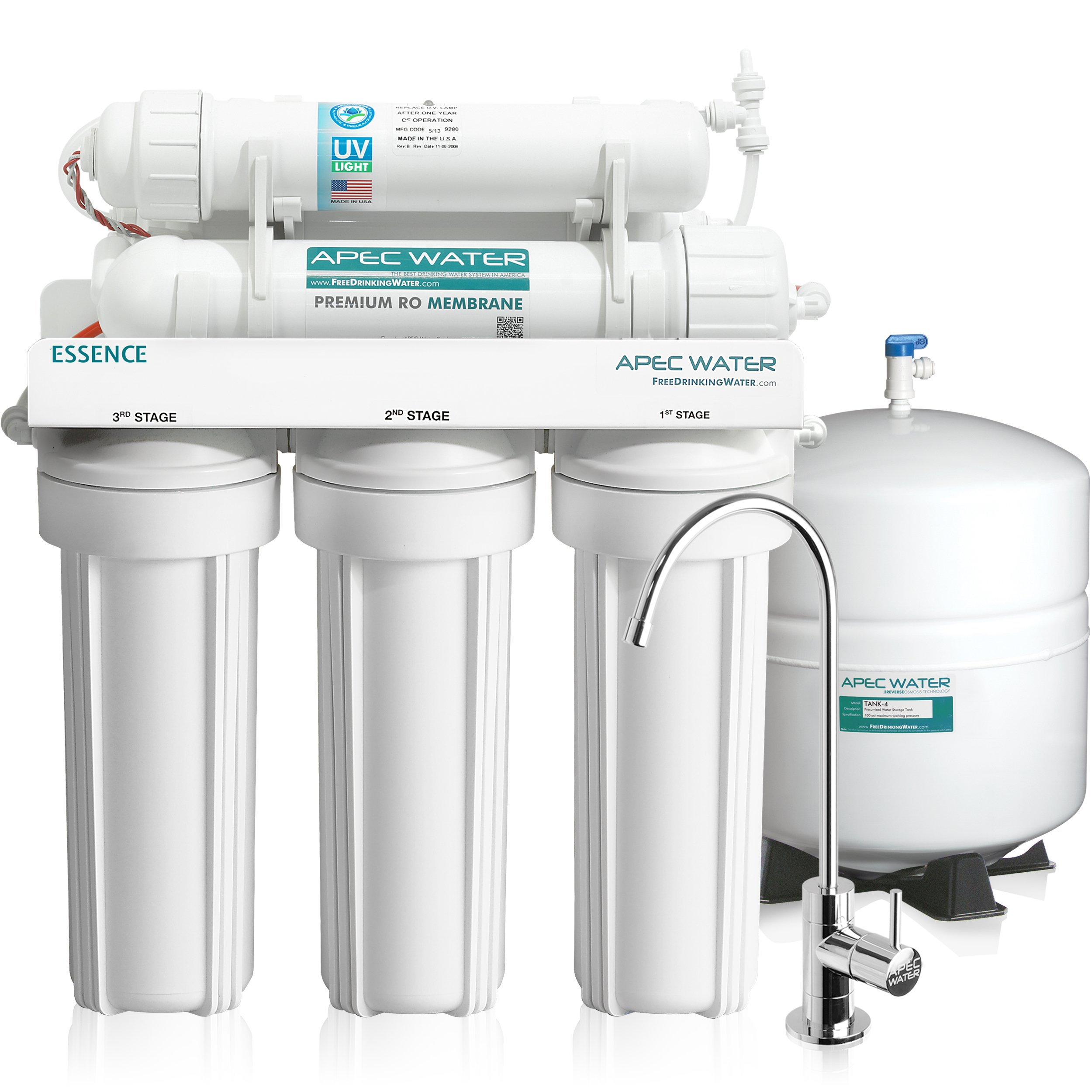 APEC Top Tier UV Ultra-Violet Sterilizer 75 GPD 6 Stage Ultra Safe Reverse Osmosis Drinking Water Filter System (ESSENCE ROES-UV75)