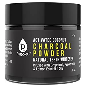 Pursonic Teeth Whitening Charcoal Powder Natural, Infused With Grapefruit,Peppermint & Lemon Essential Oils, 2oz