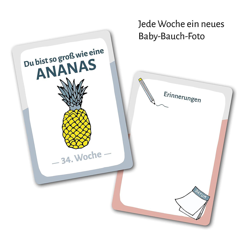 60 Meine Schwangerschaft 1 Meilensteinkarten Set Milestone Karten als Geschenk f/ür Schwangere