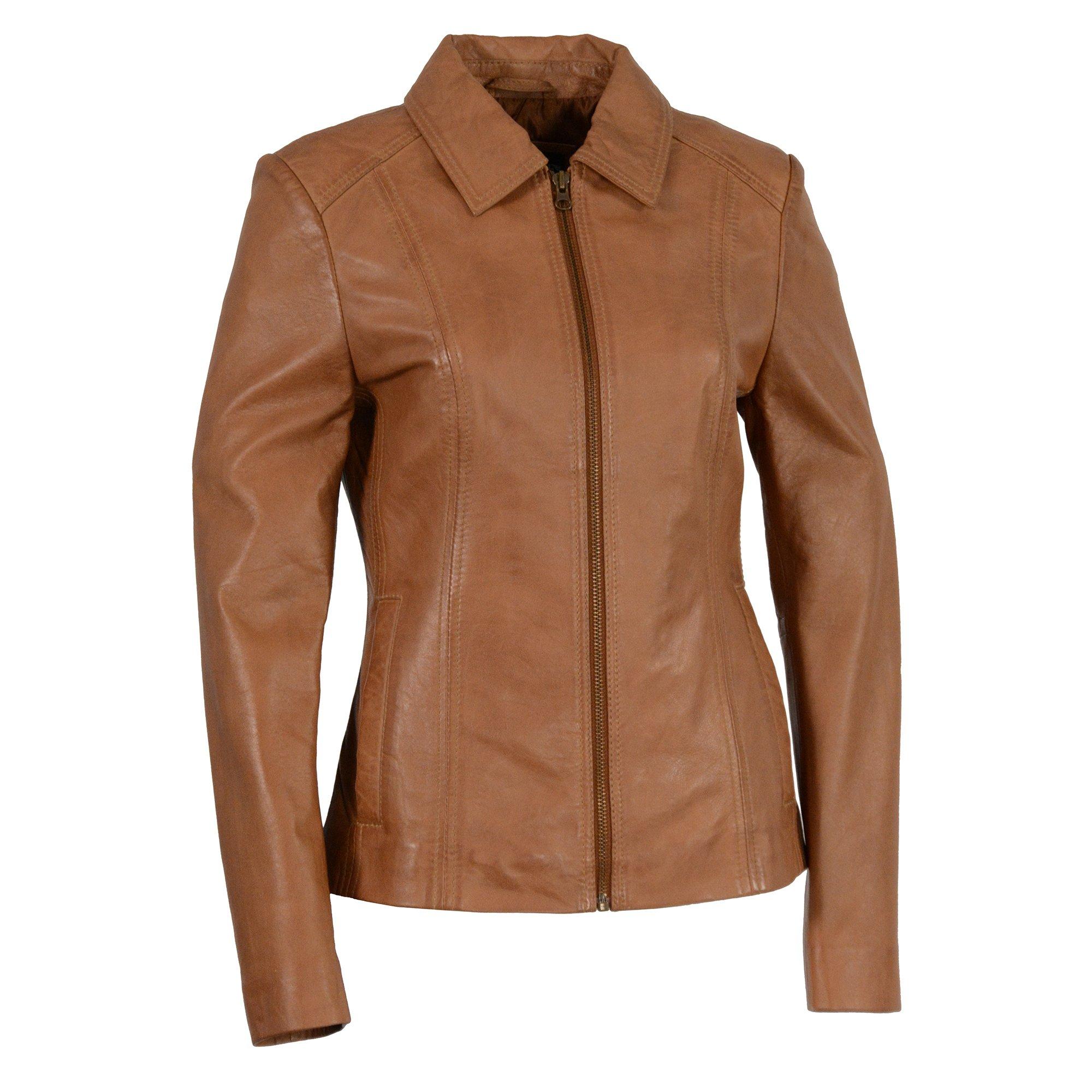 Milwaukee Leather Women's Zipper Front Scuba Jacketwith  Shirt Collar (Saddle, 4X-Large), 1 Pack