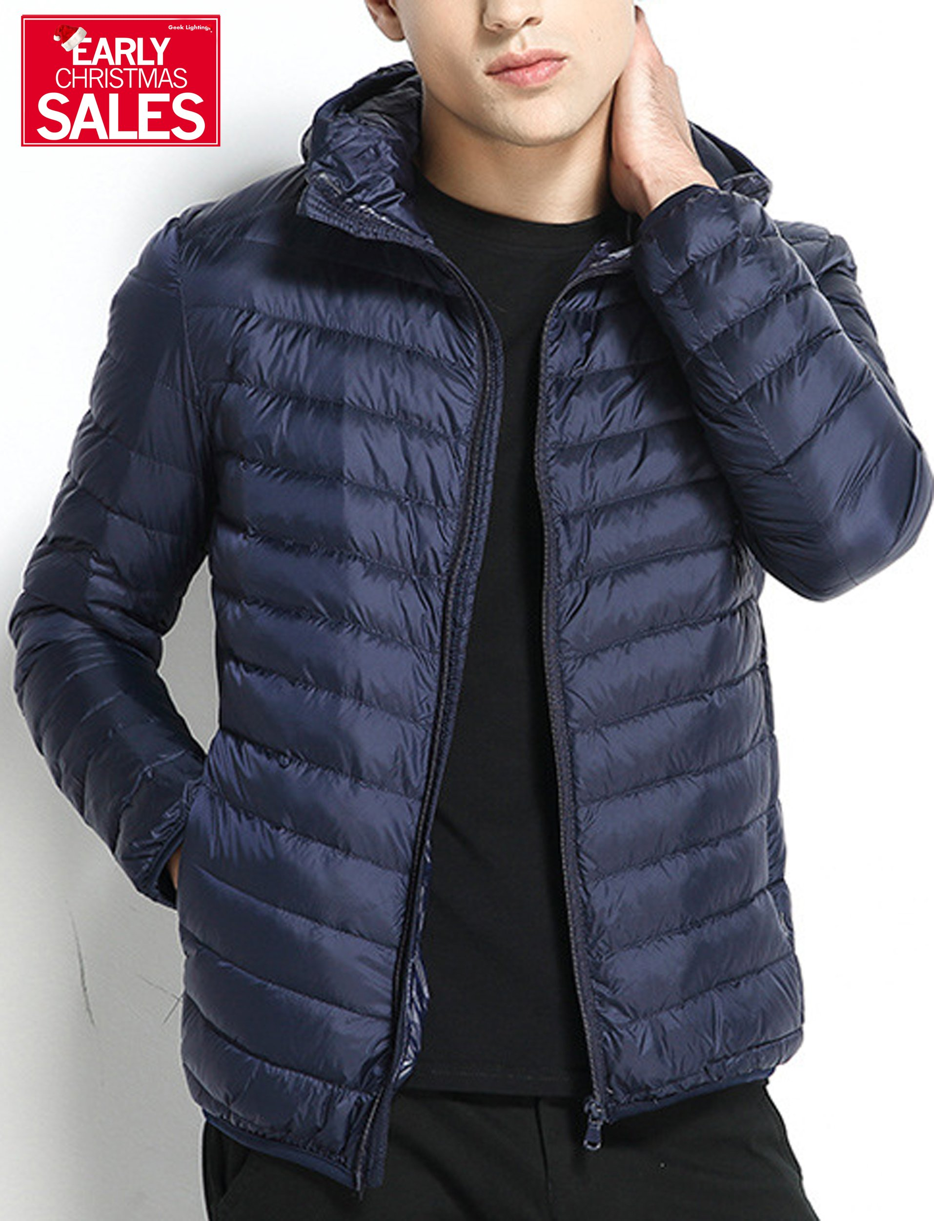 Men's Packable Hooded Down-Fill Puffer Jacket Light Waterproof Coats Indigo US Medium/Tag XX-Large by GEEK LIGHTING
