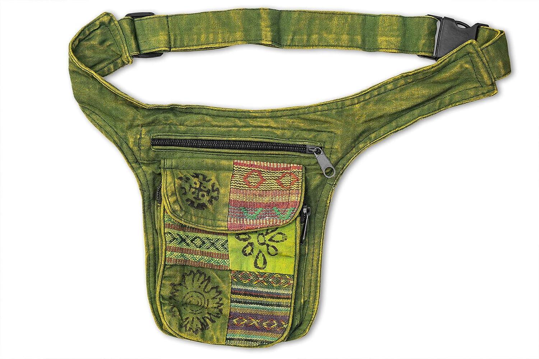 Hü fttasche Stonewashed grü n aus Baumwolle Goa Hippie 326