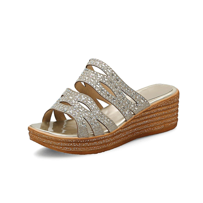 QIN&X Frauen Frauen Frauen Keilabsatz Peep Toe Sandalen Golden 6b8ca9