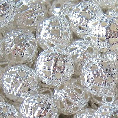 100 pieces 6mm Iron Hollow / Filigree Beads - Silver - A6751 by k2-accessories Jewellery Findings
