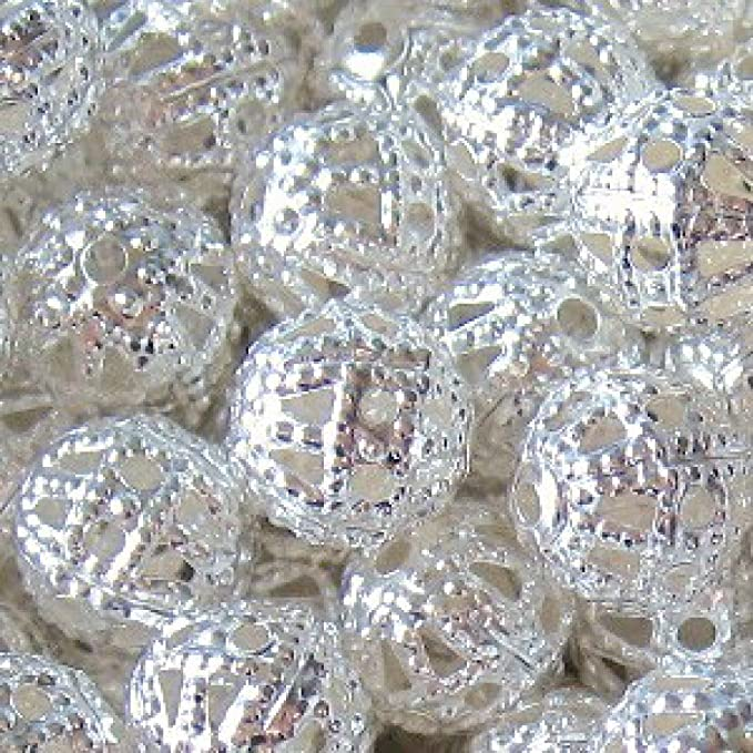 Image of100 pieces 6mm Iron Hollow / Filigree Beads - Silver - A6751 by k2-accessories Jewellery Findings