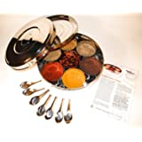 Authentic Indian Spice Box with Double Lid 24cm (Large), 7 spice spoons & FREE Spice Guide set by Kitchen Essentials