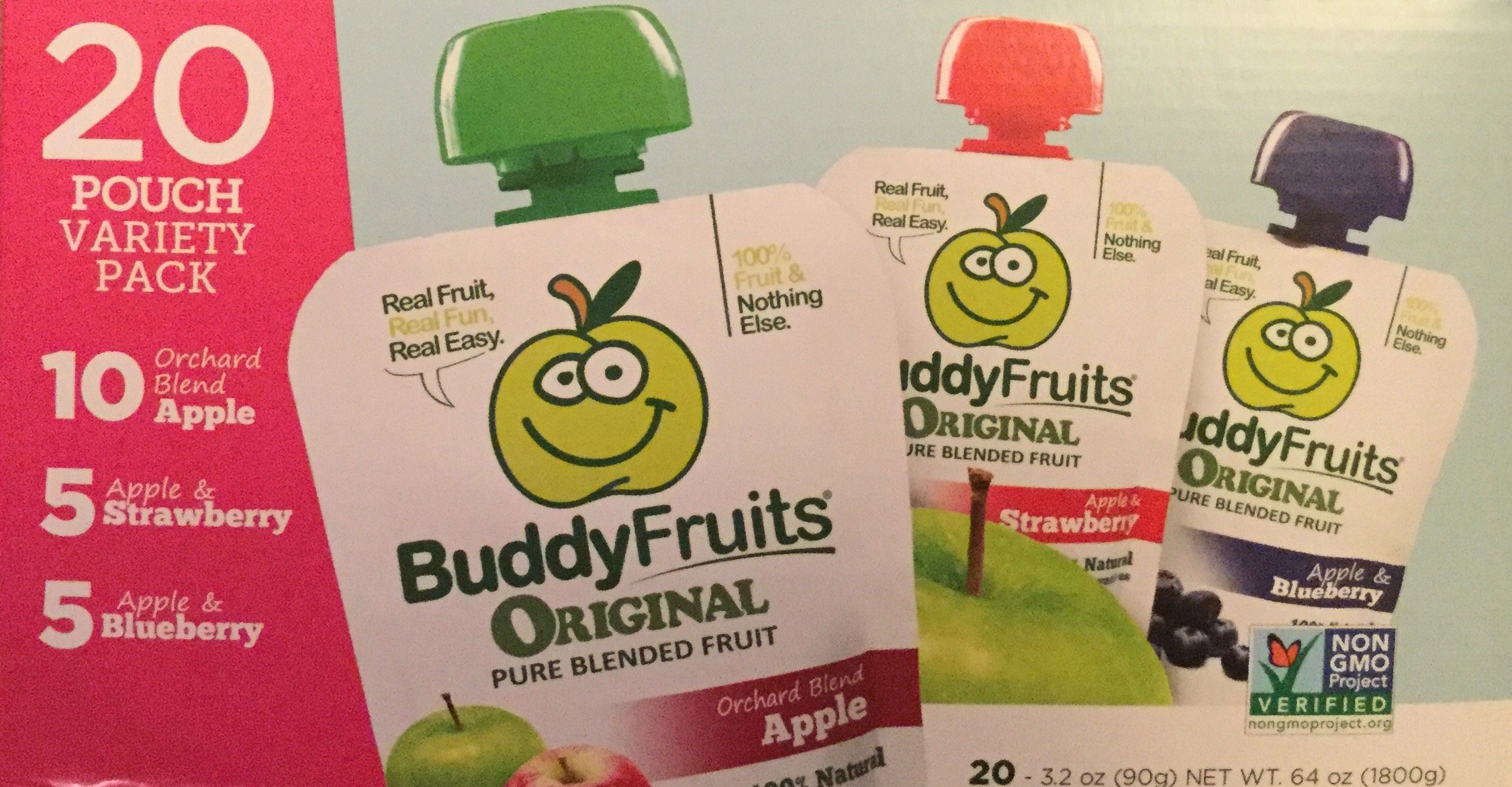 Buddy Fruits Original Pure Blended Fruit- 20 3.2 Ounce Pouch Variety Pack, 10 Orchard Blend Apple, 5 Apple & Strawberry, 5 Apple & Blueberry, NON GMO VERIFIED