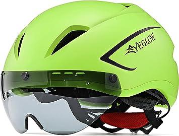 EyeGlow Casco de Bicicleta de Ciclismo con Visera de Escudo ...
