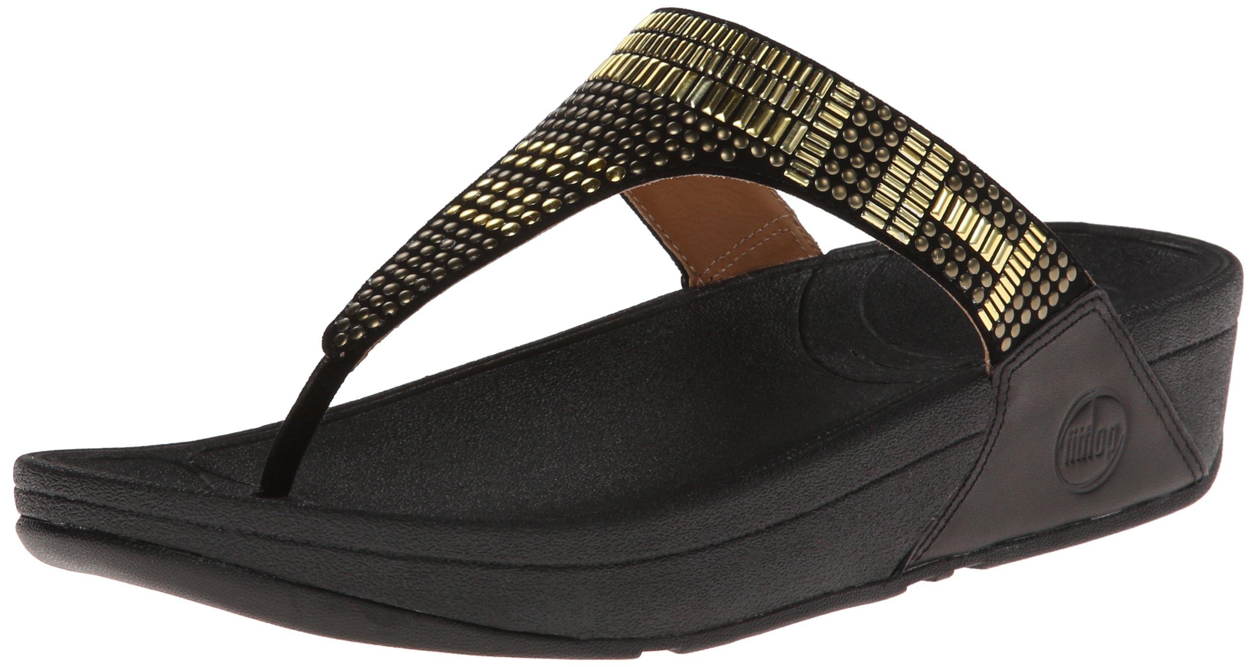 FitFlop Women's Aztec Chada Flip Flop,Black,7 M US
