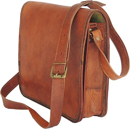 Goat Leather Cross Body Vintage Style Shoulder Bag 11 Inch Travelling Bag