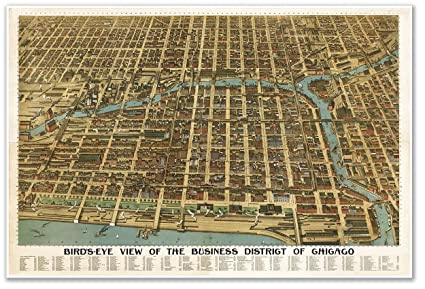 amazon com bird s eye view map of the business district of chicago