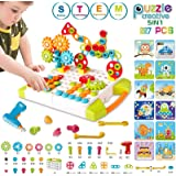 5 IN 1 STEM Learning Toys - 227PCS Building Block Set with Pegboard Toy Drill Button Screw Driver Tool Kits, DIY…