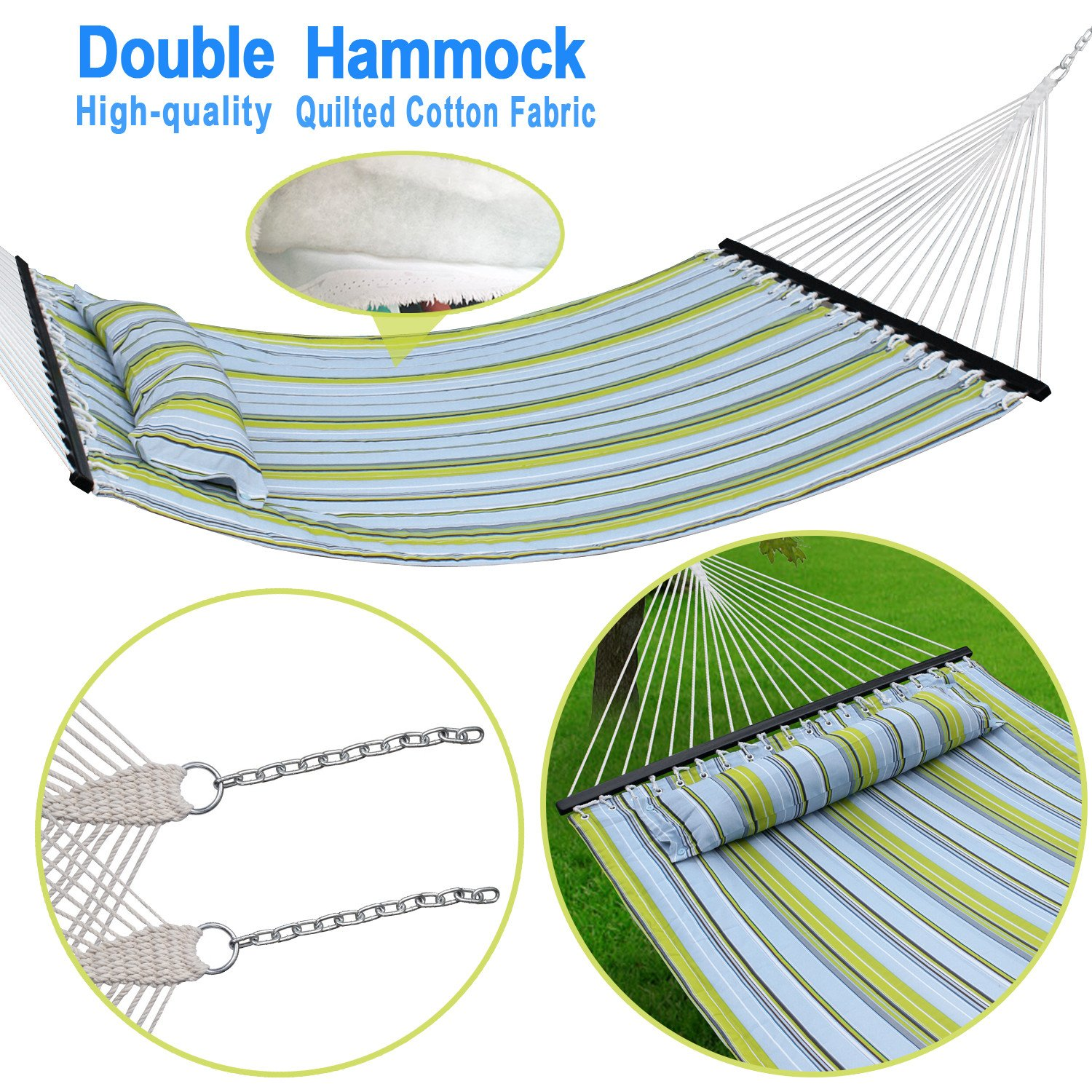 F2C 450Lbs Fall Camp Deluxe Double 2 Person Free Standing Fabric Portable Stripe Quilted Double Cotton Hammock Patio Sleeping Bed W Pillow Spreader Bars Swing Outdoor