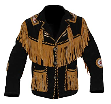 ee784aec Baba Geniuse International Men's Suede Leather Cowboy Style Jacket Fringe  and Beaded Size Small to 5XL