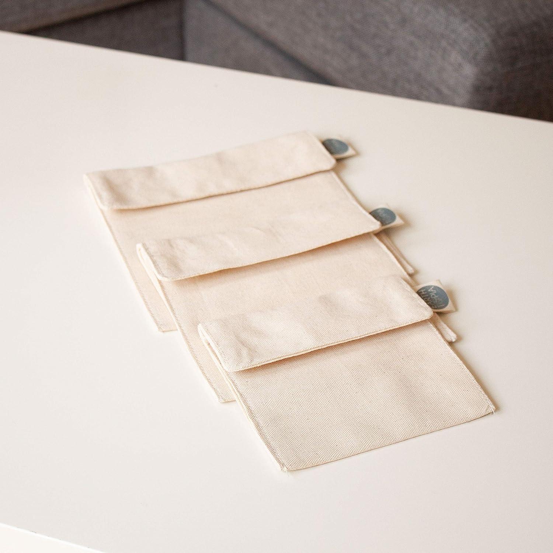 Earthtopia Set da 3 Contenitori Porta Pranzo in Cotone Biologico Equosolidali e Riutilizzabili Sacchetto per Sandwich Snack e Merende