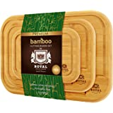 Bamboo Cutting Board with Juice Groove (3-Piece Set) - Kitchen Chopping Board for Meat (Butcher Block) Cheese and Vegetables